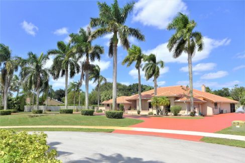 Stunning large home with beautiful manicured lawn & palm trees